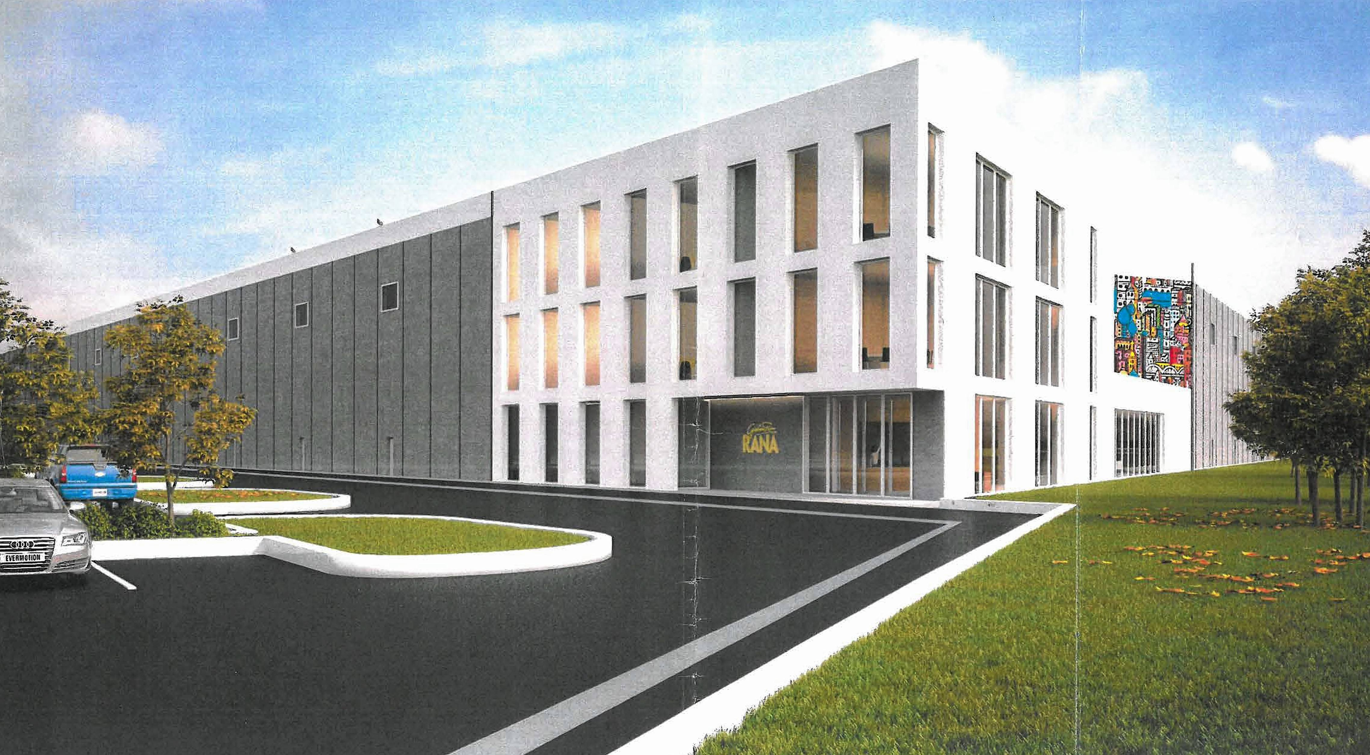 A rendering of Rana Meal Solutions' newly approved 326,000-square-foot building in Bartlett's Brewster Creek Business Park, which also will house the company's corporate headquarters when completed next year.
