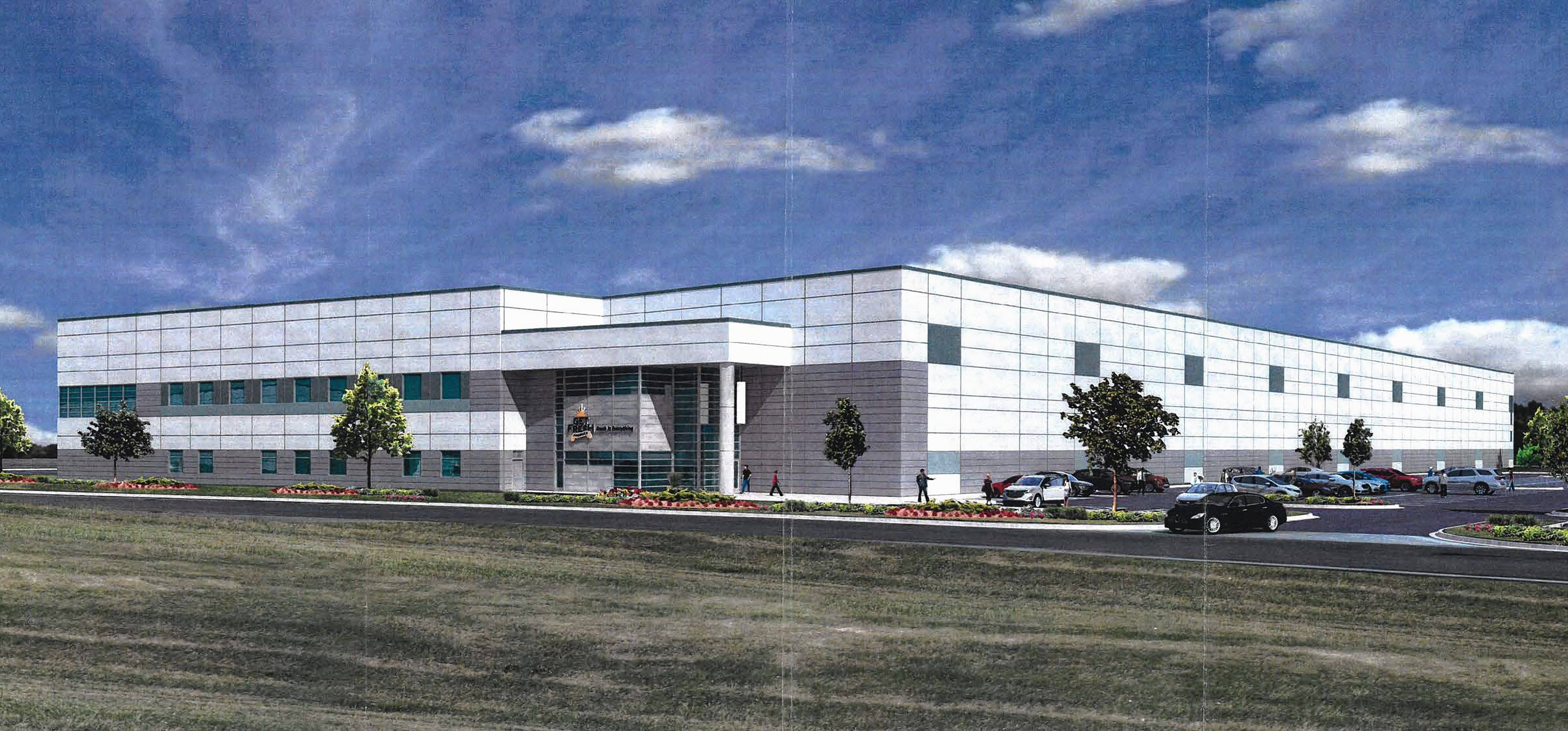 A rendering of Get Fresh Produce's newly approved 151,324-square-foot building in Bartlett's Brewster Creek Business Park, which will expand the company's facilities there.