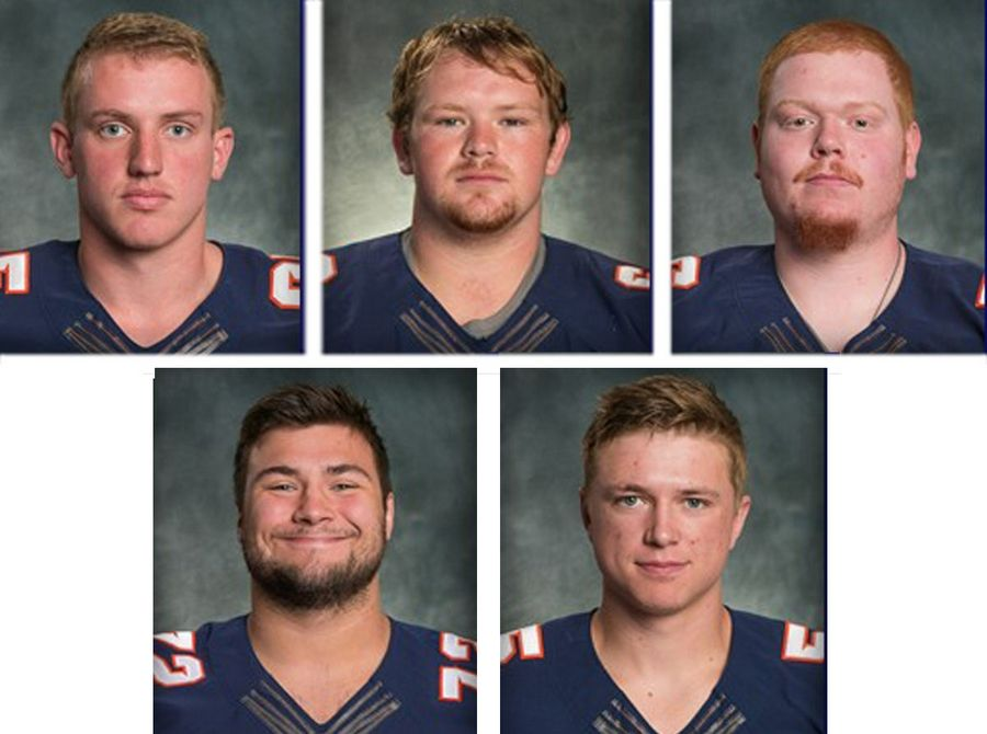 Top row from left, James Cooksey, Kyler Kregel and Ben Pettway and bottom row from left, Noah Spielman and Samuel TeBos, are Wheaton College football players who face felony charges after being accused in a 2016 hazing of a teammate.