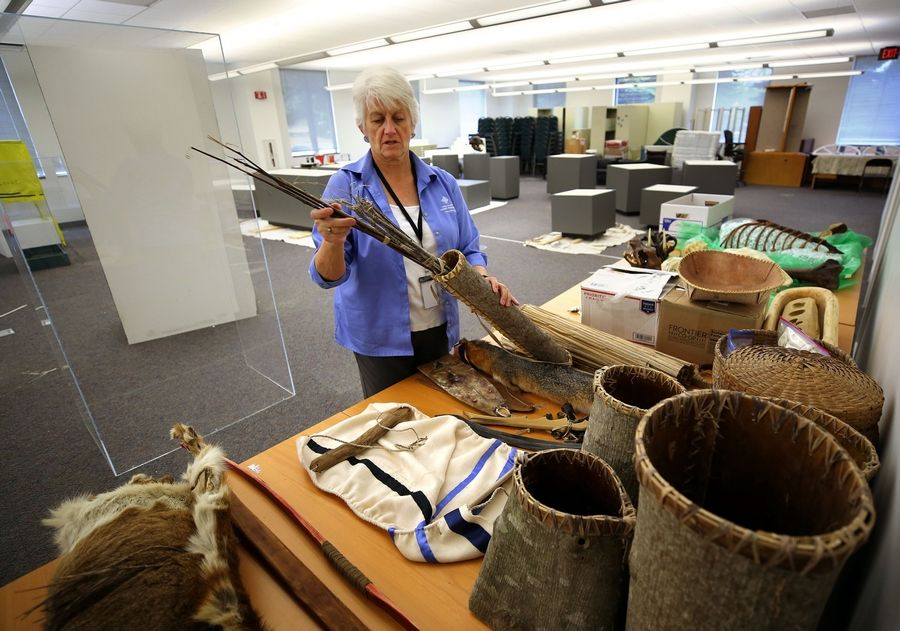 Director of Education Nan Buckardt displays replica artifacts that will be used in teaching at the Bess Bower Dunn Museum of Lake County in Libertyville.