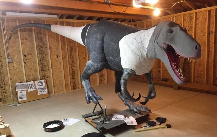 The full-scale Dryptosaurus that will greet visitors to the Bess Bower Dunn Museum of Lake County in Libertyville is taking shape.
