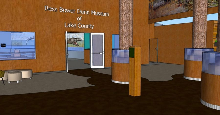 A rendering shows the entrance to the Bess Bower Dunn Museum of Lake County in Libertyville.