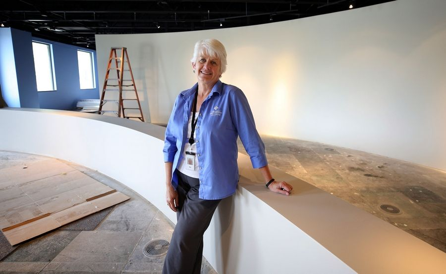 Director of Education Nan Buckardt in the main exhibit area of the developing Bess Bower Dunn Museum of Lake County on Winchester Road in Libertyville.