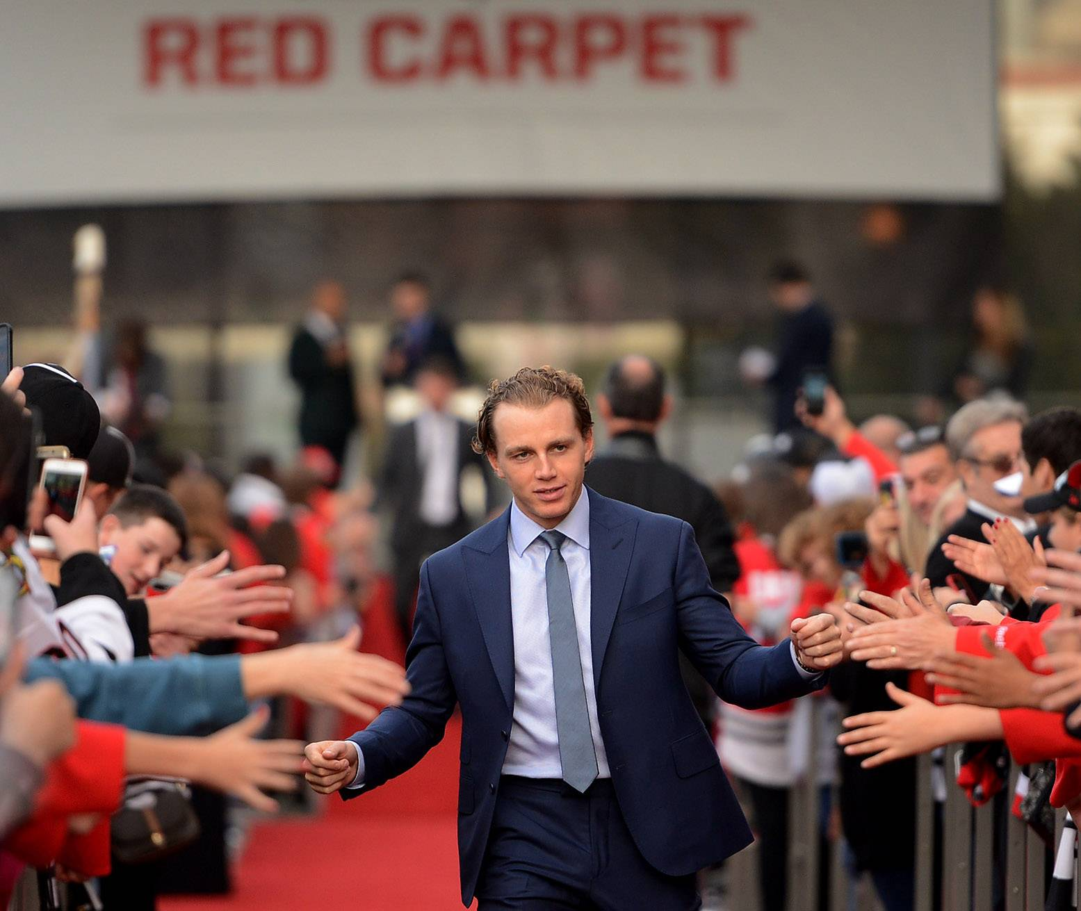 Bob Chwedyk/bchwedyk@dailyherald.comChicago Blackhawks right wing Patrick Kane during the red carpet ceremony before the Blackhawks home opener against the Penguins.