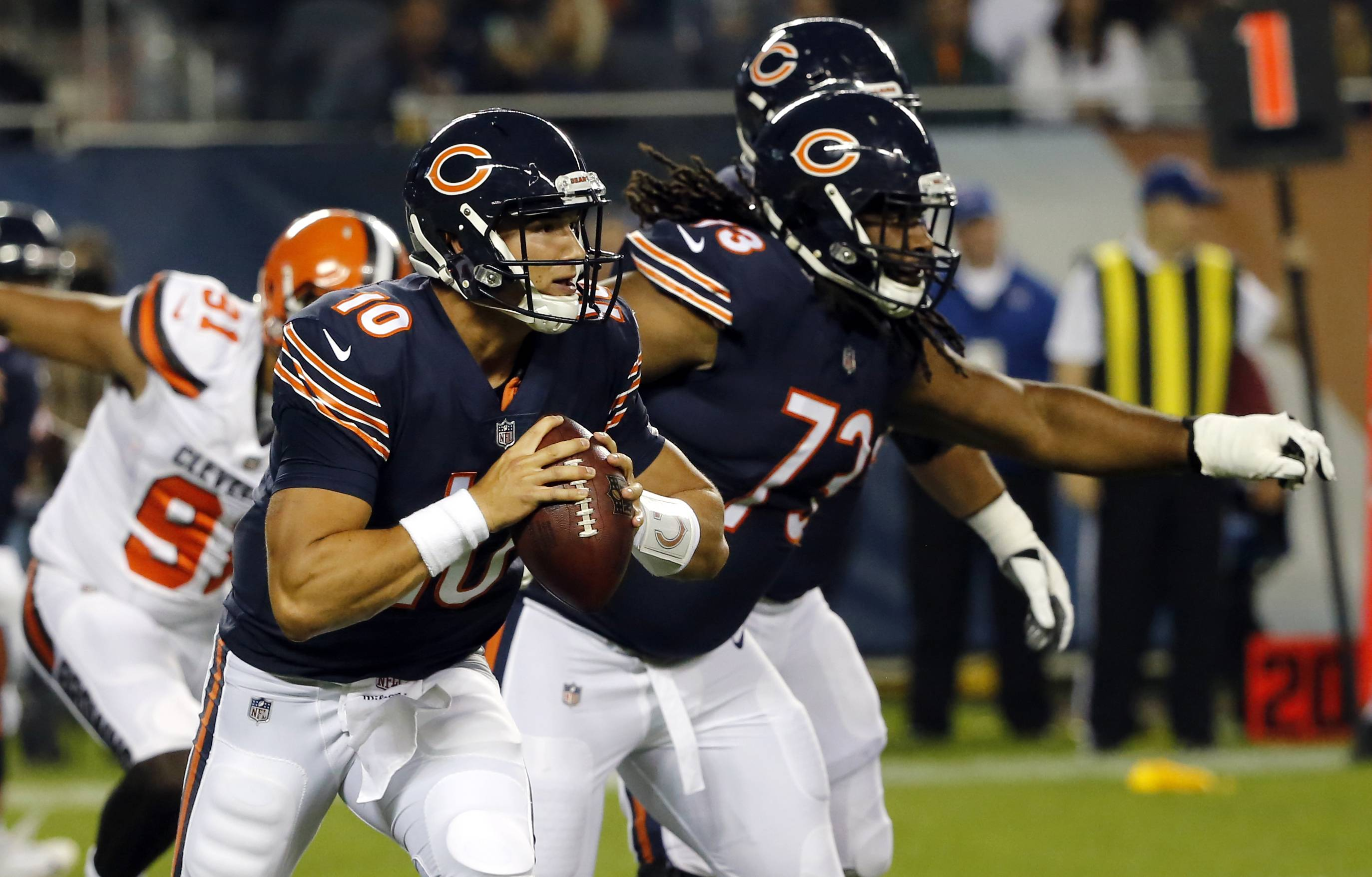 Mitch Trubisky can't do it alone, Chicago Bears' Loggains says