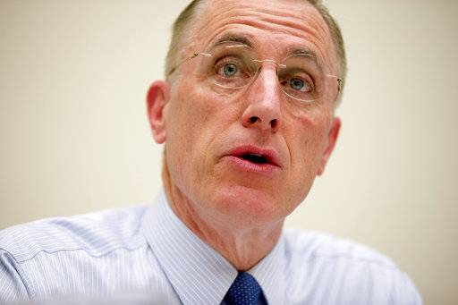 FILE - In this March 26, 2015, file photo, Rep. Tim Murphy, R-Pa., speaks on Capitol Hill in Washington. Murphy who was caught up in affair scandal, announces he plans to resign from Congress effective Oct. 21, 2017, according to House Speaker Paul Ryan.
