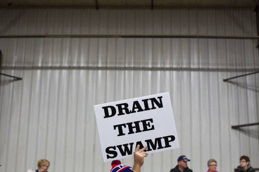 "FILE - In this Oct. 27, 2016, file photo, supporters of then-Republican presidential candidate Donald Trump hold signs during a campaign rally in Springfield, Ohio. Despite President Donald Trump's campaign to ""drain the swamp� of lobbyists and special interests, Washington's influence industry is alive and well _ and growing. Former members of the Trump transition team, presidential campaign, administration and friends have set up shop as lobbyists and cashed in on connections, according to a new analysis by Public Citizen, a public interest group, and reviewed by The Associated Press."