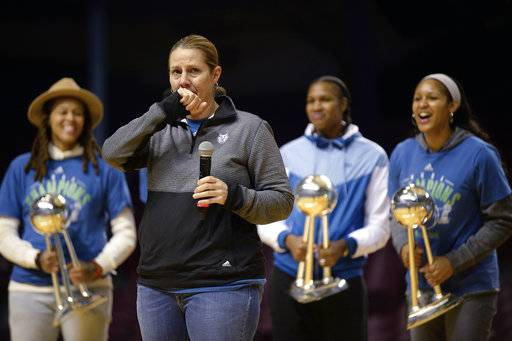 Minnesota Lynx head coach Cheryl Reeve gets emotional as she speaks to fans at the WNBA Championship victory rally, Thursday, Oct. 5, 2017 in Minneapolis. (Aaron Lavinsky/Star Tribune via AP)