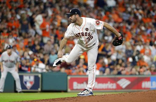 Houston Astros starting pitcher Justin Verlander (35) delivers a pitch against the Boston Red Sox in Game 1 of baseball's American League Division Series, Thursday, Oct. 5, 2017, in Houston.