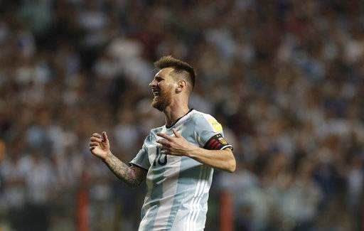Argentina's Lionel Messi screams in disbelief after playing Peru to a 0-0 draw in a World Cup qualifying soccer match, at La Bombonera stadium in Buenos Aires, Argentina, Thursday, Oct. 5, 2017. The draw leaves Argentina almost out of the upcoming World Cup in Russia.
