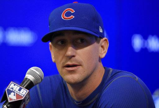 Chicago Cubs starting pitcher Kyle Hendricks speaks to the media during a press conference, Thursday, Oct. 5, 2017, in Washington. Game 1 of the National League Division Series against the Washington Nationals is on Friday.