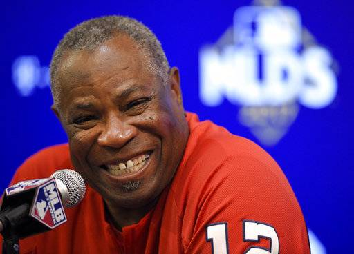 Washington Nationals manager Dusty Baker smiles during a baseball press conference at Nationals Park, Thursday, Oct. 5, 2017, in Washington. The Nationals host the Chicago Cubs in Game 1 of the National League Division Series on Friday.