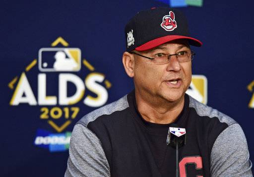 Cleveland Indians manager Terry Francona answers questions during a news conference before Game 1 of baseball's American League Division Series against the New York Yankees, Thursday, Oct. 5, 2017, in Cleveland.