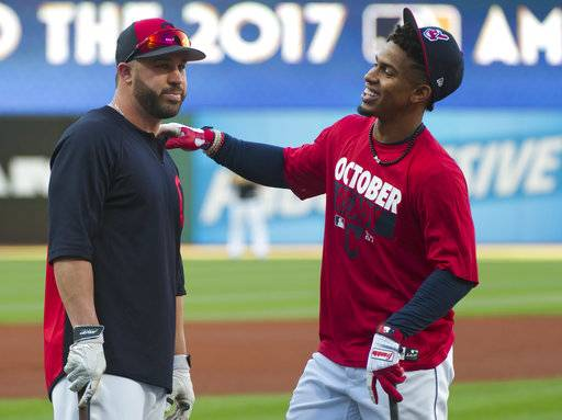 Cleveland Indians' Francisco Lindor, right, talks with Jason Kipnis before Game 1 of baseball's American League Division Series against the New York Yankees, Thursday, Oct. 5, 2017, in Cleveland.