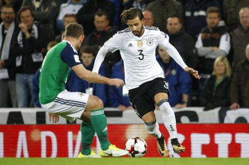 Germany's Marvin Plattenhardt, 3, runs with the ball during the World Cup Group C qualifying soccer match between Northern Ireland and Germany at Windsor Park in Belfast, Northern Ireland, Thursday, Oct. 5, 2017.