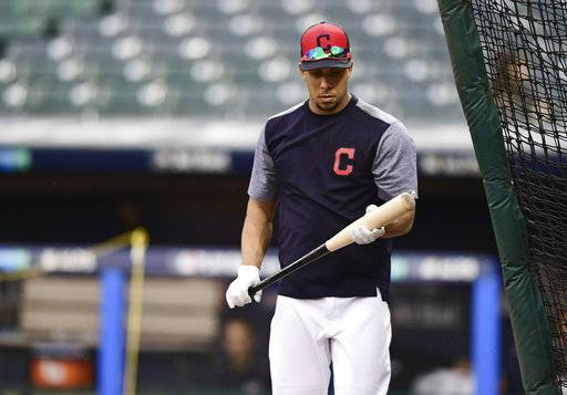 Cleveland Indians' Michael Brantley walks into the batting cage during a team workout, Wednesday, Oct. 4, 2017, in Cleveland. The Indians are scheduled to play the New York Yankees in Game 1 of an ALDS on Thursday.