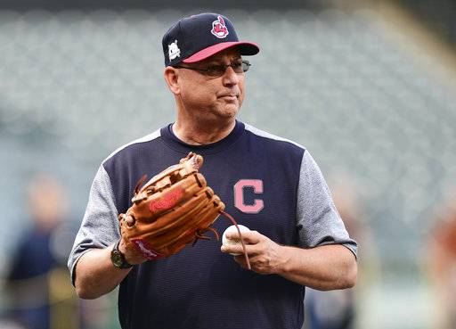 Cleveland Indians manager Terry Francona watches during a team workout, Wednesday, Oct. 4, 2017, in Cleveland. The Indians are scheduled play the New York Yankees in Game 1 of the ALDS on Thursday.