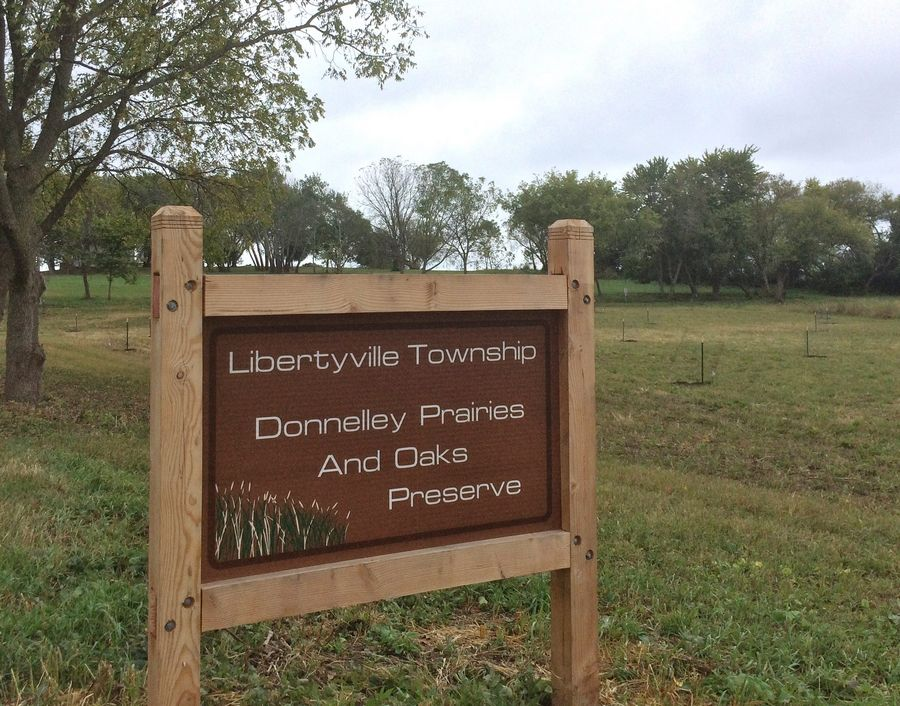 Libertyville Township's Donnelley Prairies and Oaks Preserve south of Casey Road near Almond Road. On Friday, 125 trees were delivered to help restore the site to its original state.