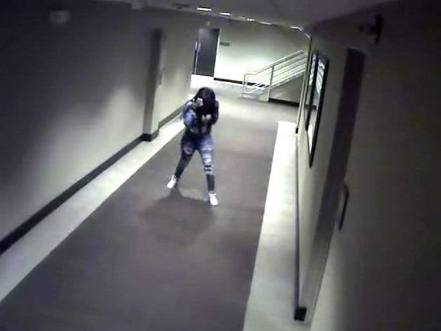 Kenneka Jenkins is shown on property surveillance cameras walking halls and into the kitchen at a Rosemont hotel just before she found her way to a walk-in freezer where she was discovered dead the following day.
