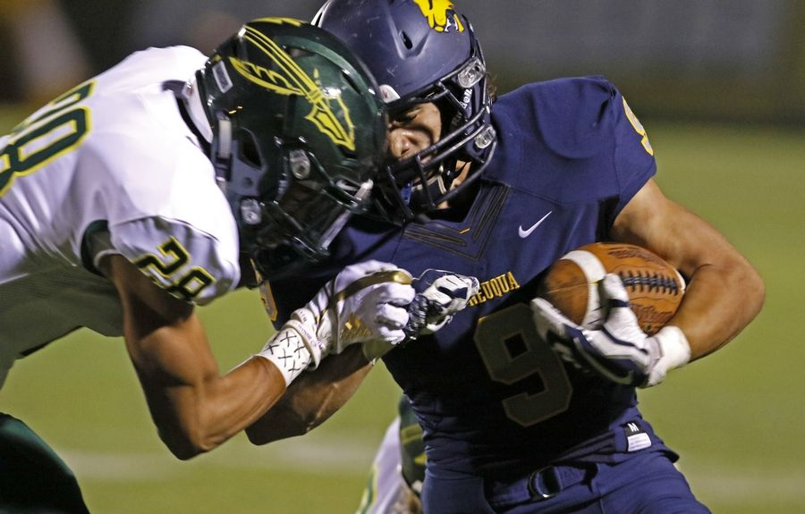 Waubonsie Valley's Derric Lee (28) tackles Neuqua Valley's Will Chevalier during a game last month in Naperville. Both high schools are in Indian Prairie Unit District 204, which has 391 football players at three schools. Ten years ago, the district fielded more than 500 players.