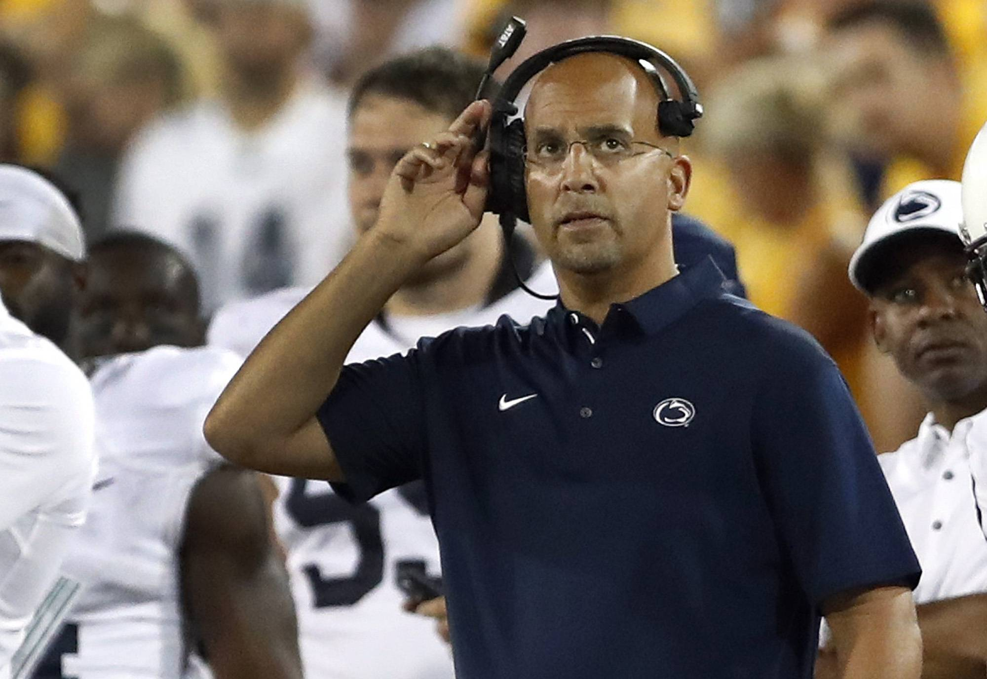 FILE - In this Saturday, Sept. 23, 2017 file photo,  Penn State head coach James Franklin watches from the sidelines during the second half of an NCAA college football game against Iowa in Iowa City, Iowa. Penn State coach James Franklin sees the talent Northwestern has and the success the Wildcats have experienced under Pat Fitzgerald.That's why he sees potential trouble for the Nittany Lions. No. 4 Penn State looks to remain unbeaten and in line for a playoff spot when it visits Northwestern on Saturday, Oct. 7, 2017.