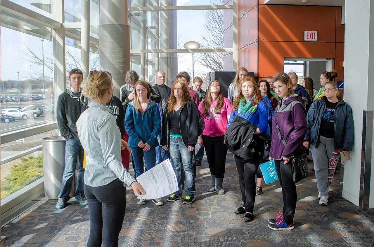 Prospective students and their parents tour campus during the 2015 open house.