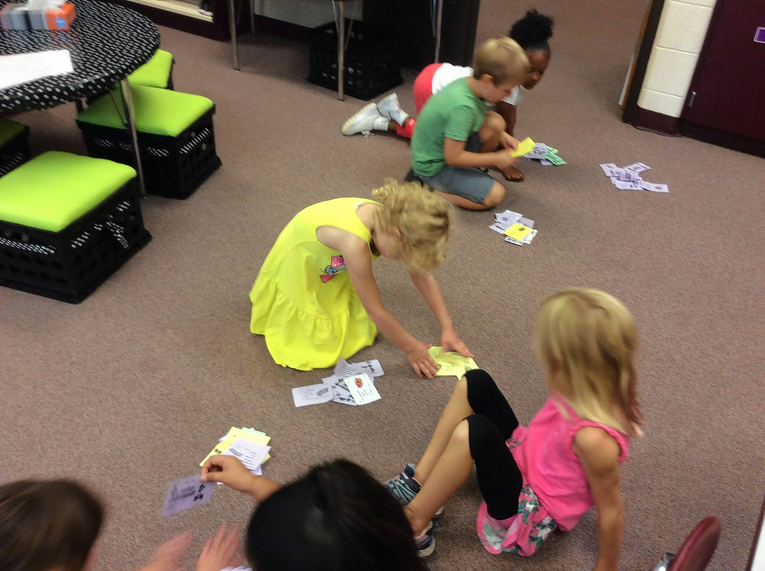 Courtesy of Spaulding School Spaulding students count their superpower tickets.