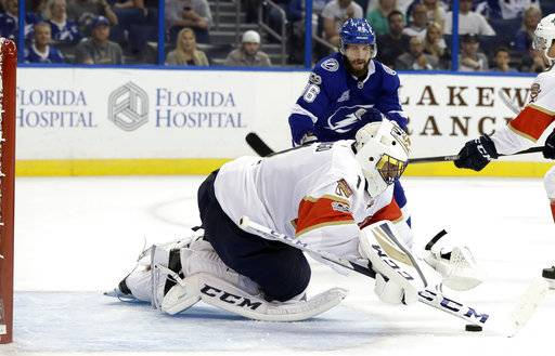 Florida Panthers goalie Roberto Luongo dives on the puck before Tampa Bay Lightning right wing Nikita Kucherov (86), of Russia, can get to the rebound during the second period of an NHL hockey game Friday, Oct. 6, 2017, in Tampa, Fla.