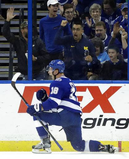 Tampa Bay Lightning left wing Ondrej Palat (18), of the Czech Republic, celebrates after scoring against the Florida Panthers during the first period of an NHL hockey game Friday, Oct. 6, 2017, in Tampa, Fla.