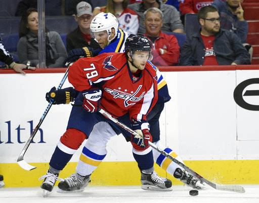 FILE - In this Oct. 3, 2016, file photo, Washington Capitals' Nathan Walker (79) controls the puck against St. Louis Blues defenseman Carl Gunnarsson during the first period of an NHL preseason hockey game, in Washington. Walker is set to become the first Australian player to dress in an NHL game when he makes his debut Saturday night against the Montreal Canadiens.