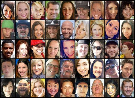 This photo combination shows some of the victims of the mass shooting that occurred at a country music festival in Las Vegas on Sunday, Oct. 1, 2017. Top row from left are: Hannah Ahlers, Heather Warino Alvarado, Carrie Barnette, Steven Berger, Candice Bowers, Denise Burditus, Sandy Casey, Andrea Castilla and Denise Cohen. Second row from left are: Austin Davis, Tom Day Jr., Christiana Duarte, Stacee Etcheber, Brian Fraser, Keri Lynn Galvan, Dana Gardner, Angie Gomez and Rocio Guillen. Third row from left are: Charleston Hartfield, Jennifer Topaz Irvine, Nicol Kimura, Jessica Klymchuk, Rhonda LeRocque, Kelsey Meadows, Calla Medig, Sonny Melton and Pati Mestas. Fourth row from left are: Adrian Murfitt, Rachael Parker, Carrie Parsons, Lisa Patterson, John Phippen, Melissa Ramirez, Jordyn Rivera, Quinton Robbins and Cameron Robinson. Bottom row from left are: Lisa Romero-Muniz, Christopher Roybal, Bailey Schweitzer, Laura Shipp, Erick Silva, Brennan Stewart, Derrick Taylor, Michelle Vo and Bill Wolfe Jr.