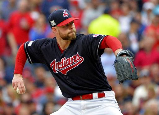 Cleveland Indians starting pitcher Corey Kluber delivers in the first inning of Game 2 of baseball's American League Division Series against the New York Yankees, Friday, Oct. 6, 2017, in Cleveland.