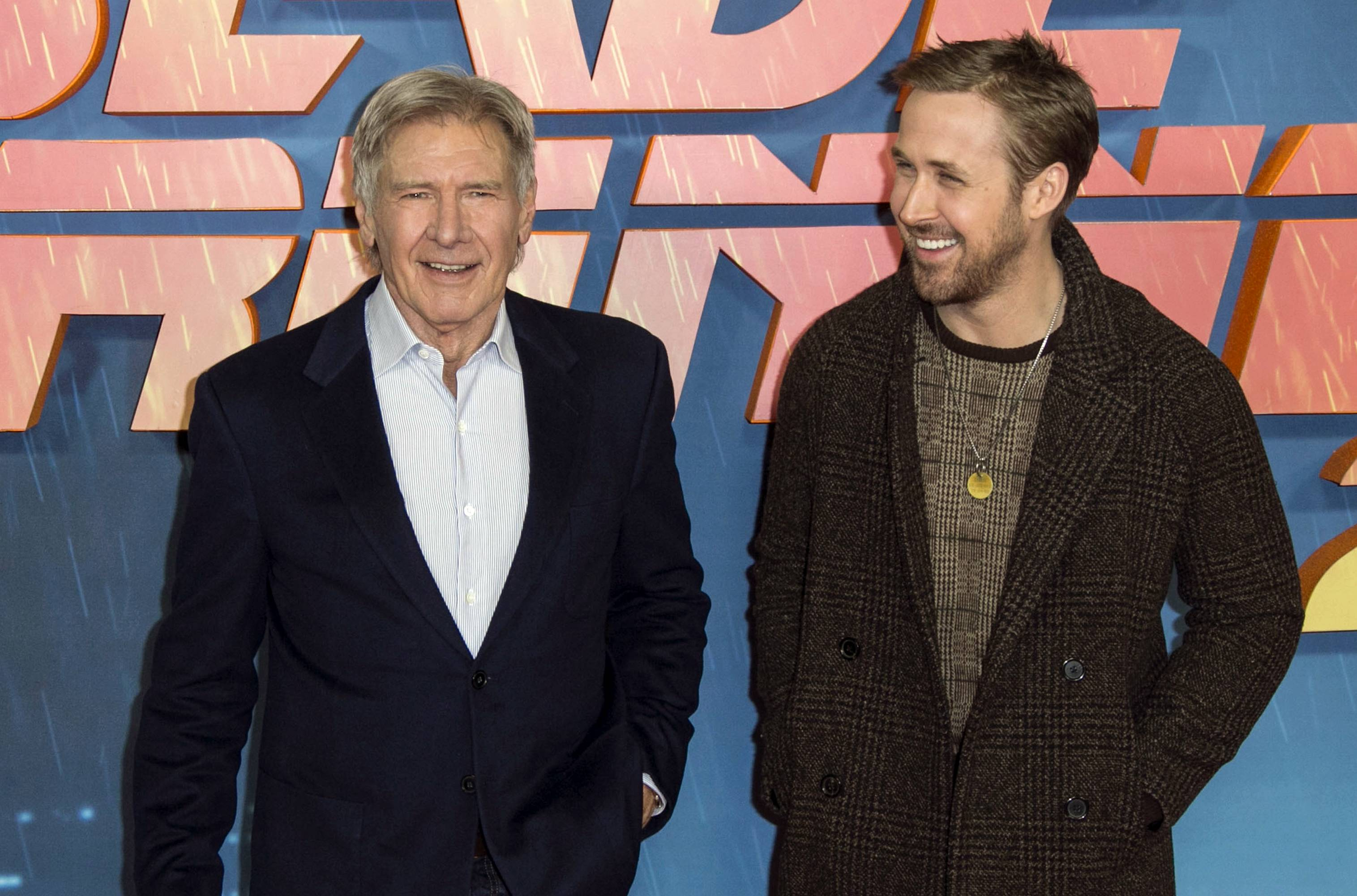 "Harrison Ford, left, and Ryan Gosling go head to head in ""Blade Runner 2049,"" a sequel to Ridley Scott's 1982 cult classic with Ford reprising his role as Rick Deckard."