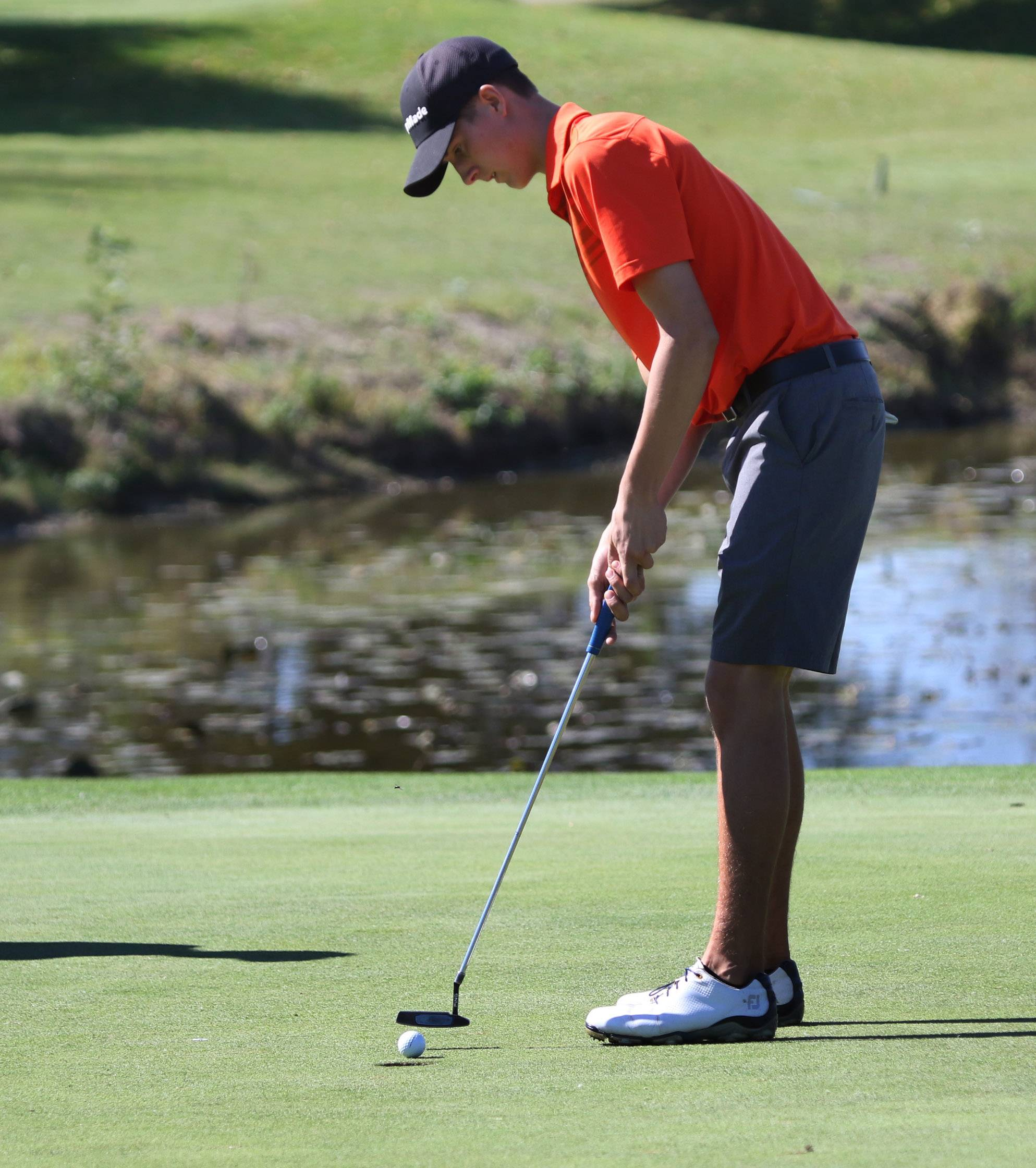 Hersey's Tommy Lumsden putts on the second hole during the Class 3A Warren boys golf sectional on Monday at Bittersweet Golf Club in Gurnee.