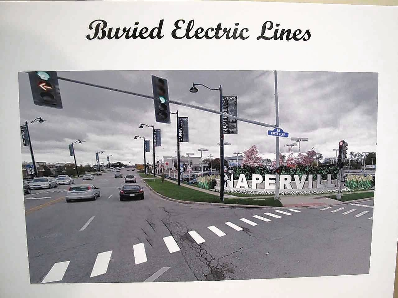 One of the highlights of streetscape rebranding improvements planned for east Ogden Avenue in Naperville would be burying ComEd electric and other utility lines to give the corridor a brighter, less cluttered appearance.