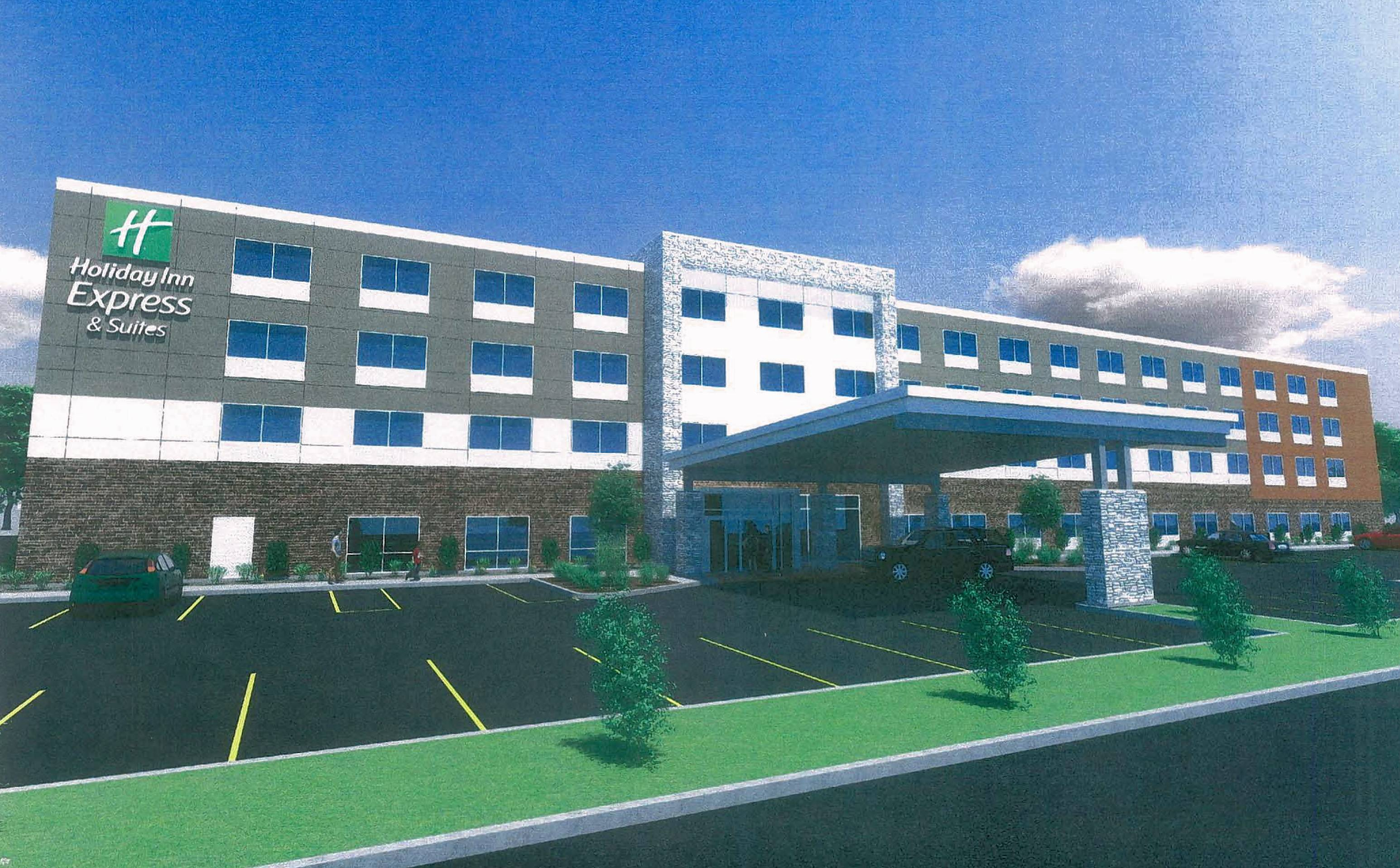 A rendering of the Holiday Inn Express approved Monday for a site next to Cabela's in Hoffman Estates' Prairie Stone Business Park, on land Cabela's currently owns.