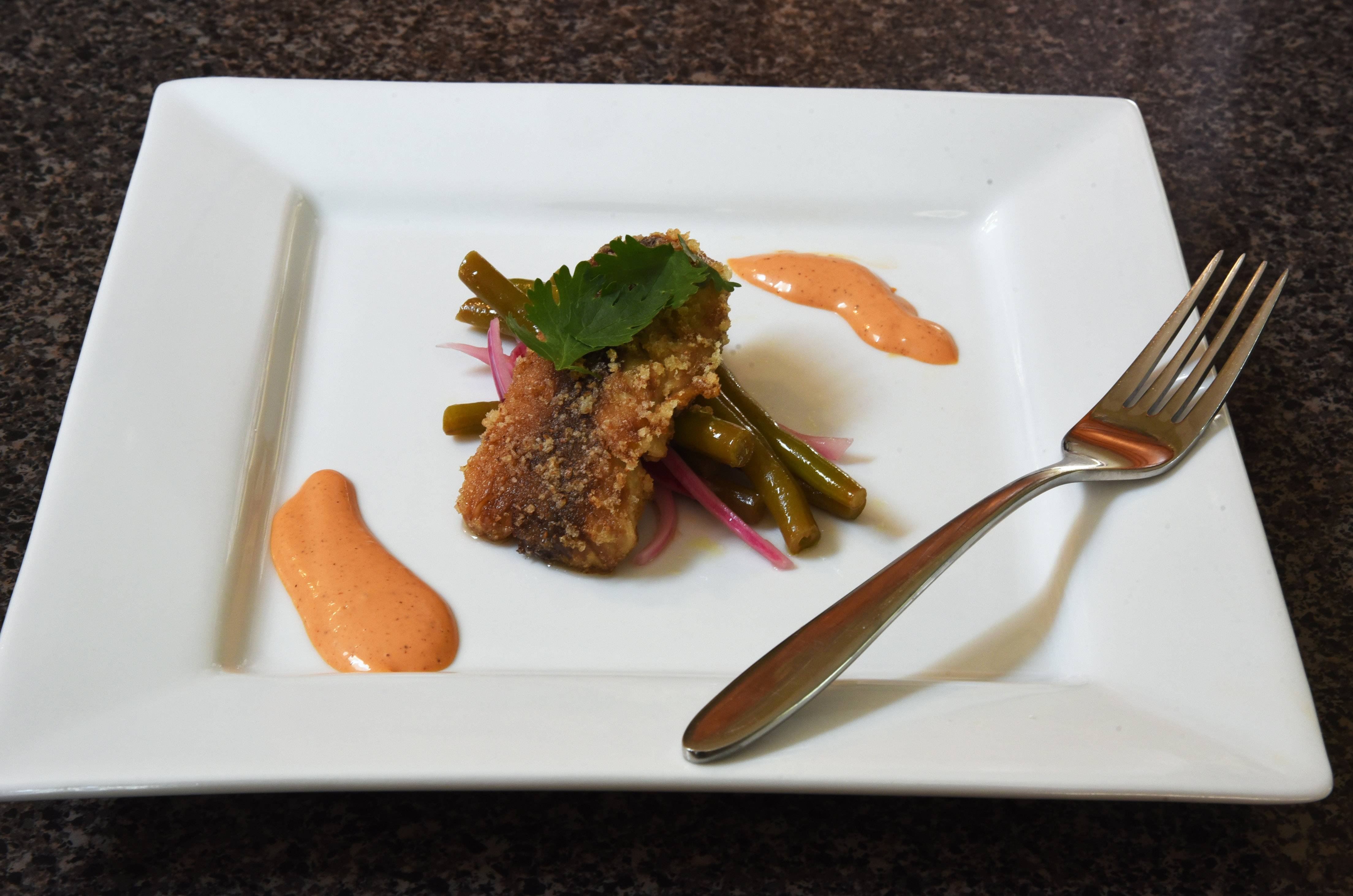 Daily Herald Cook of the Week Challenge contestant Joe Wachter of unincorporated Lake Zurich made Pan-fried Mackerel Fillets With Citrus-Pickled Green Beans And Achiote Mayonnaise.