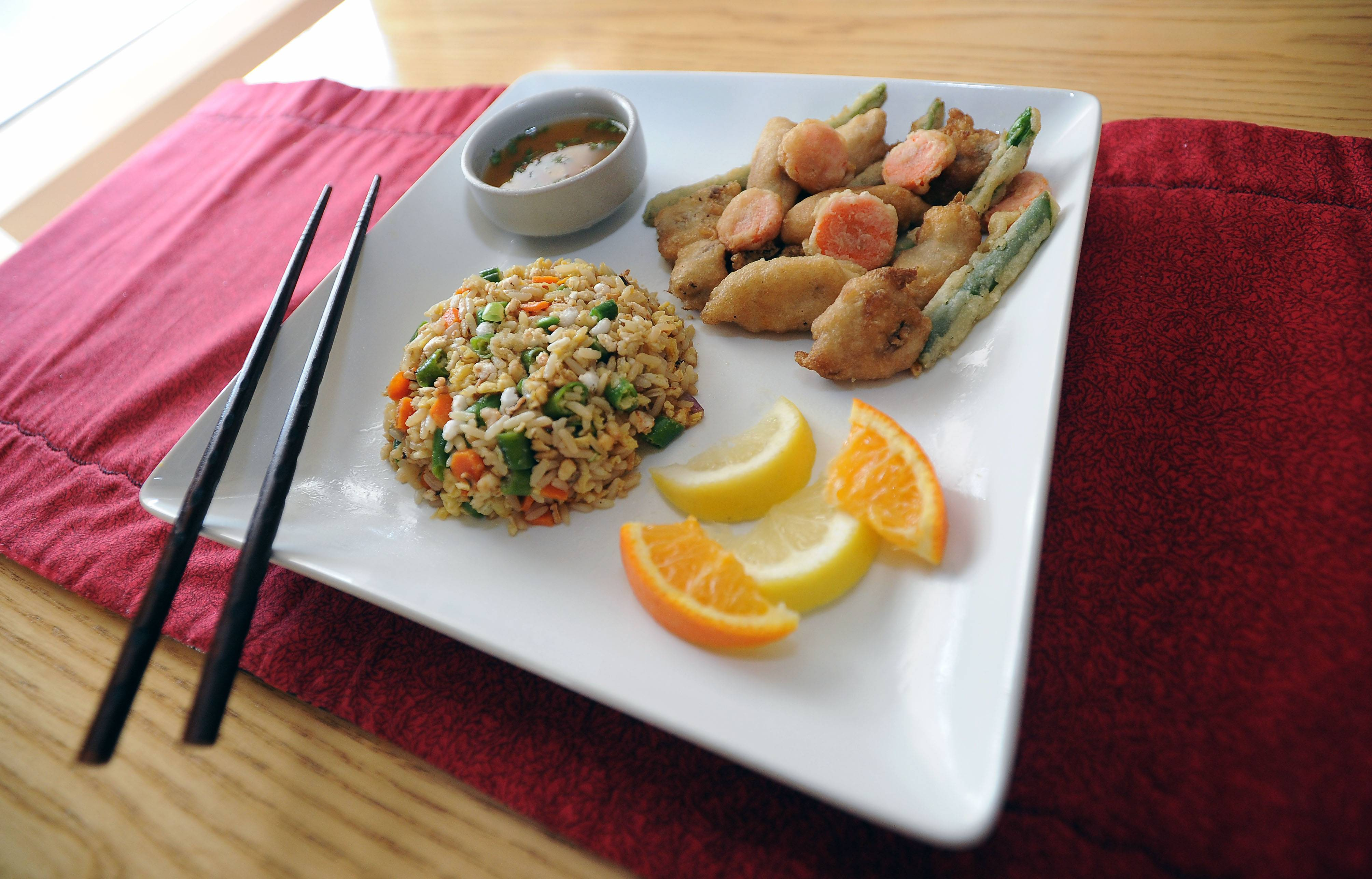 Cook of the Week Challenge contestant Chuck Federici created Tempura Mackerel with Fried Rice and Orange Ginger Dipping Sauce.