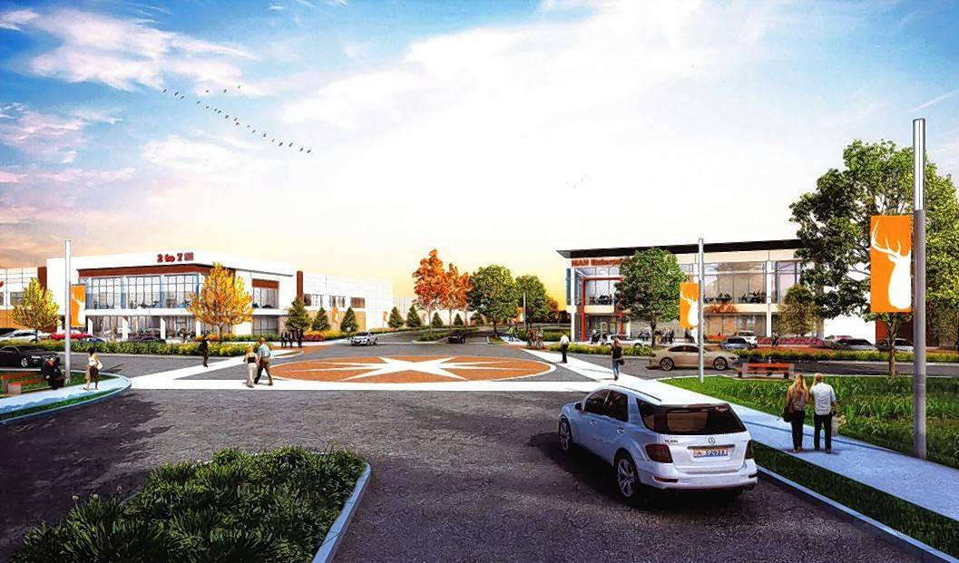 A rendering shows plans for a street passing through the 85-acre Busse Farm, which will be the site of the Elk Grove Technology Park.
