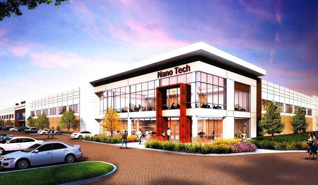 A rendering shows the exterior of a building at the Elk Grove Technology Park, a potential $1 billion development.