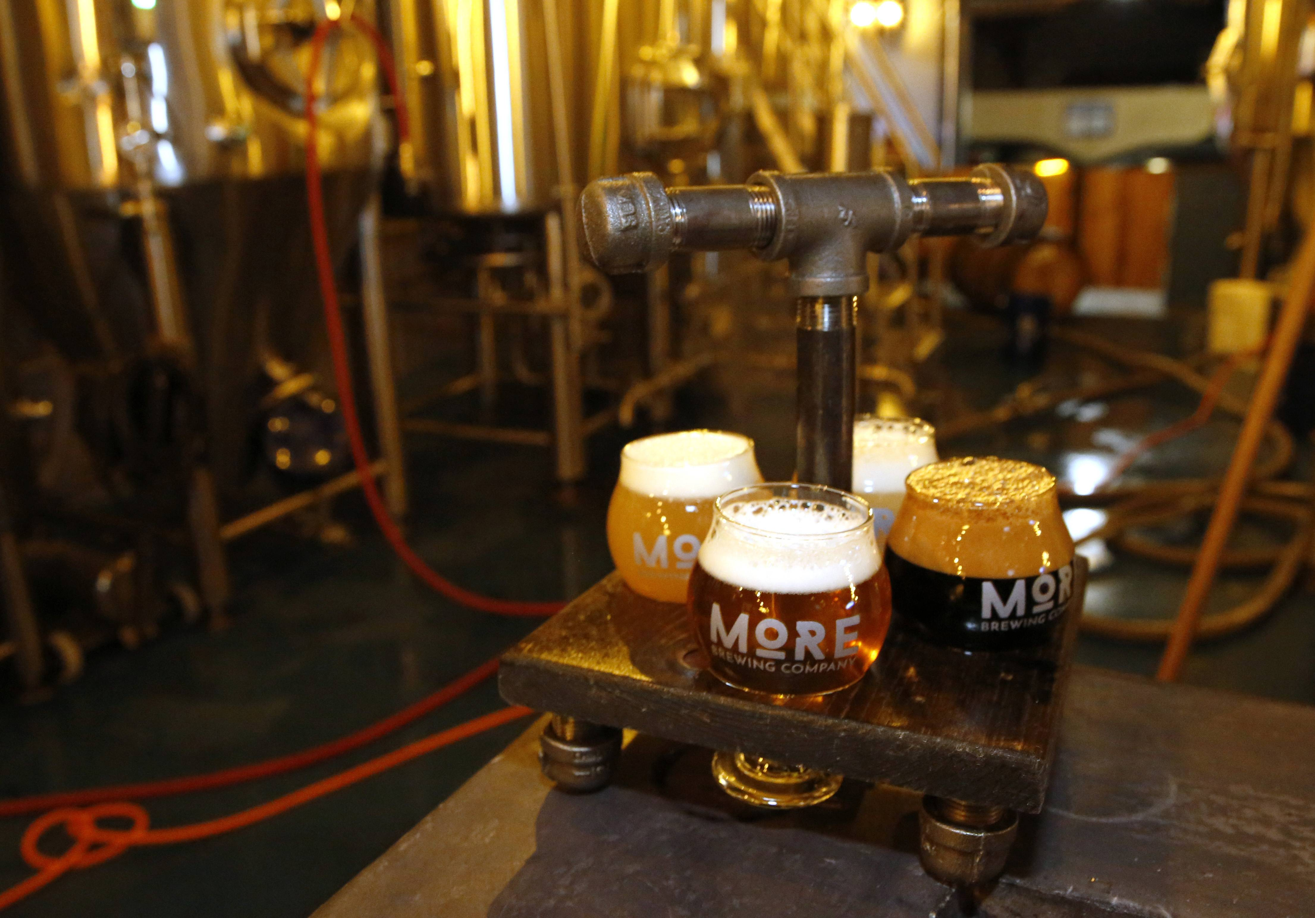 A flight gives beer lovers the chance to sample the various offerings at More Brewing Company.