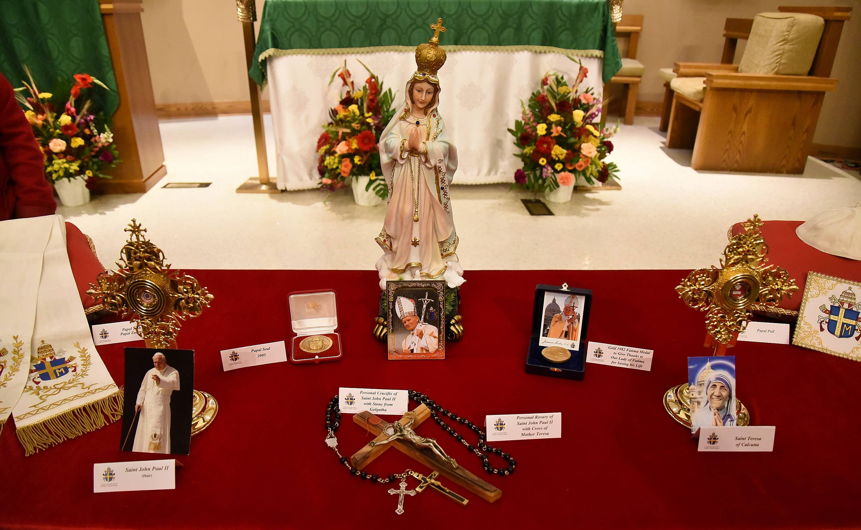 In honor of the 100th anniversary of the Apparitions of Our Lady of Fatima, relics of Pope St. John Paul II, and other saints, were on display at the Our Lady of Guadalupe Shrine in Des Plaines Wednesday.