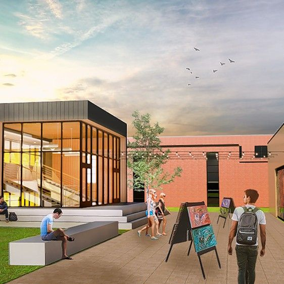 A rendering shows a courtyard outside Aptakisic Junior High School. The district will move its administrative offices from the school to a nearby office building the school board has agreed to buy for $3 million.