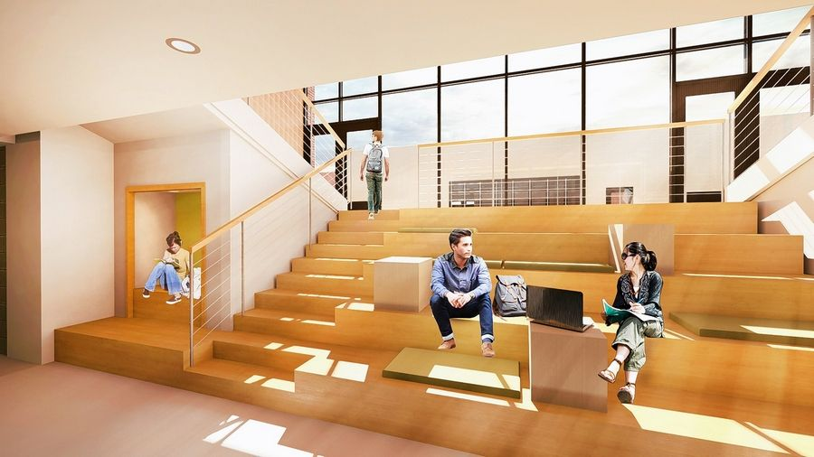 A rendering shows a new academic wing for sixth grade students at Aptakisic Junior High School. The district administrative offices will move from the school to a new building directly north of the school.