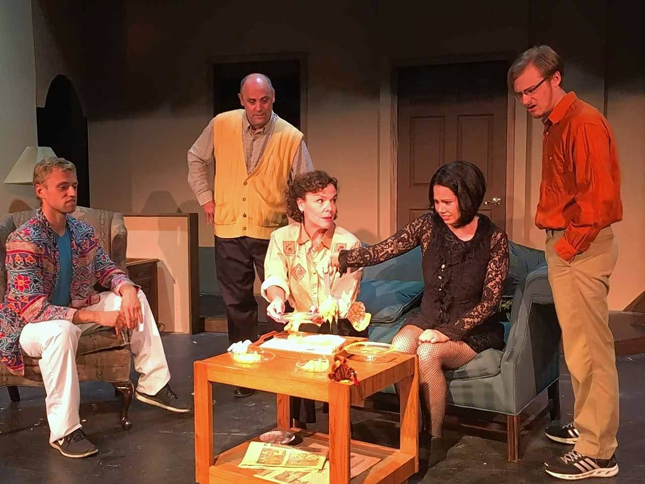 "Richard (Peter Surma), Bill (Tom Hussey), Ruthie (Shannon Mayhall), Maddie (Jocelyn Adamski) and Thomas (Sean Alyn Young) prepare to sample an old family recipe during a rehearsal of Steel Beam Theatre's production of ""Making God Laugh."" The comedy/drama explores how family relationships grow and change over 30 years."