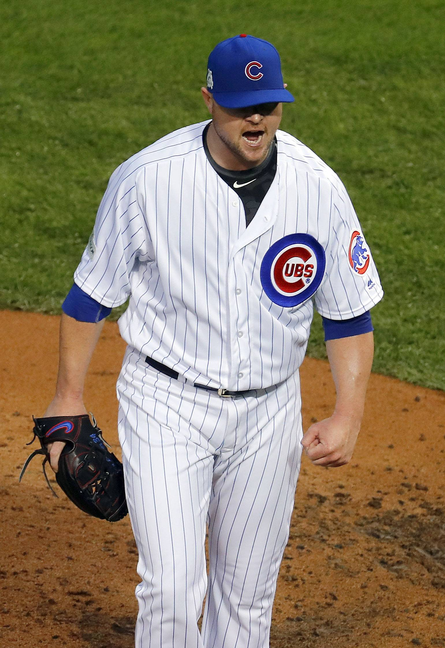Steve Lundy/slundy@dailyherald.com Chicago Cubs pitcher Jon Lester cheers after getting out of the 5th inning during Game 4 of the National League division series at Wrigley Field in Chicago Wednesday, October 11, 2017.