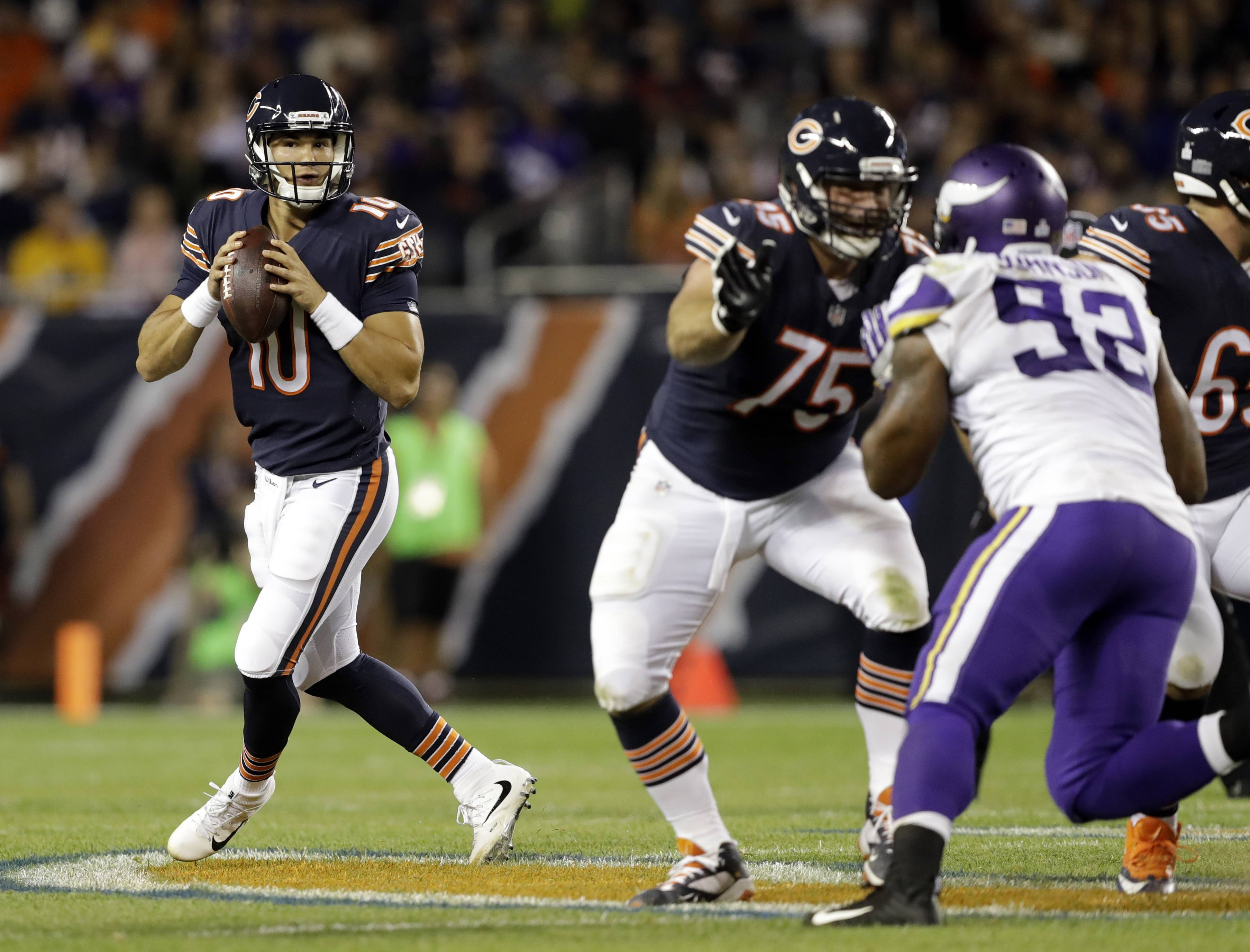 "Despite a costly interception in his first start, Chicago Bears rookie quarterback MItch Trubisky says he won't be tentative this week. ""You can't be scared,"" he said. ""You've just got to think every time the ball's in your hand that it's going to be a completion — my guy's going to come down with it."""