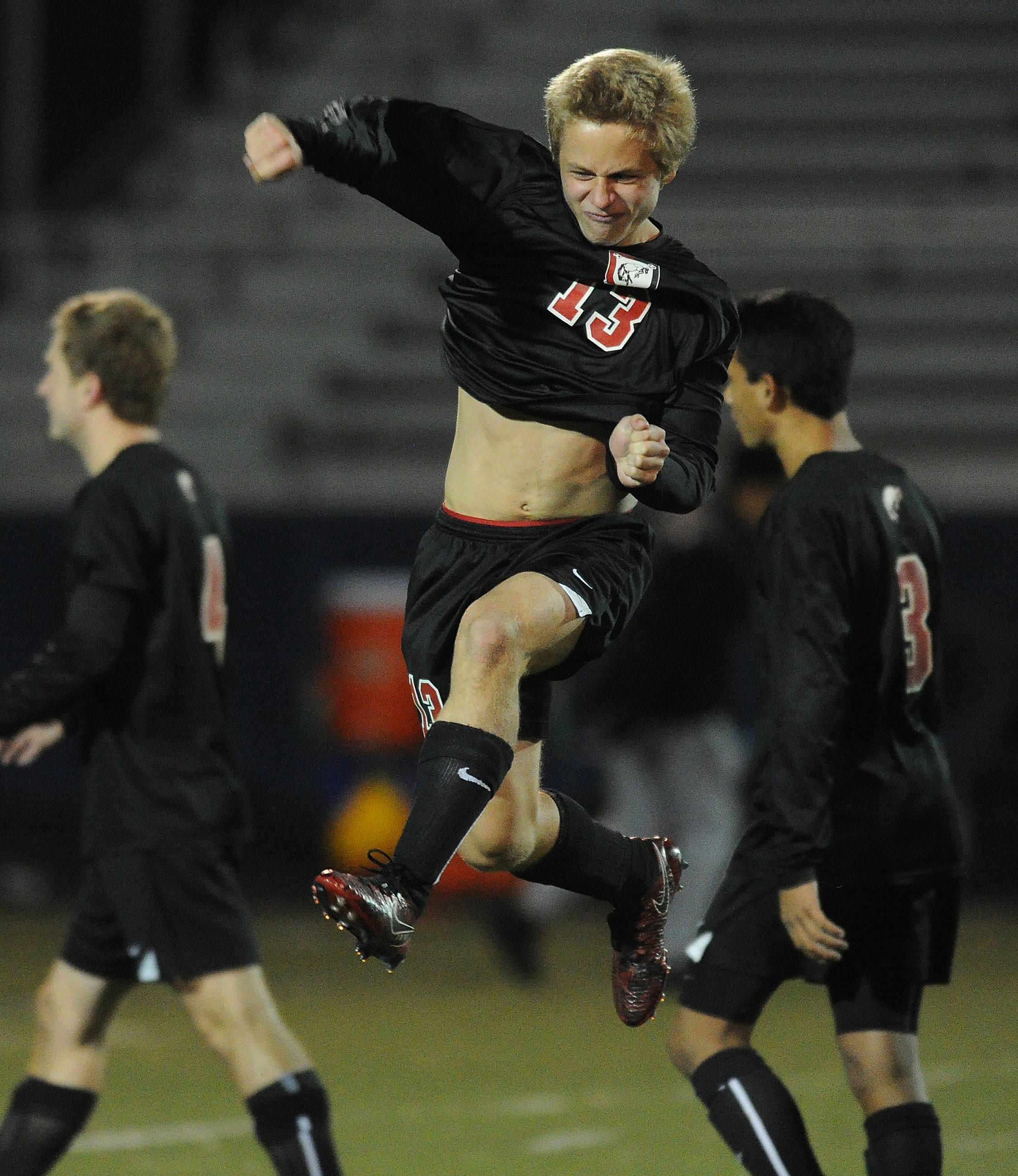 Barrington's Enrico Ruffolo, here celebrating a victory over Conant in the state semifinals last season, is among the key players back to take another shot at the MSL Cup this fall.