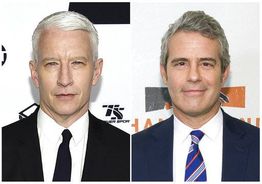 "This combination photo shows CNN's Anderson Cooper, left, and Bravo TV's ""Watch What Happens Live"" host Andy Cohen. CNN says Cooper will co-host its New Year's Eve celebration teamed with Cohen. The twosome will ring in 2018 from Times Square on CNN's ""New Year's Eve Live with Anderson Cooper and Andy Cohen� on Sunday, December 31. (AP Photo/File)"