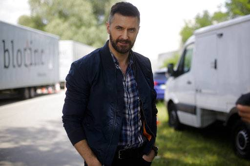 "In this Wednesday, June 28, 2017 photo, actor Richard Armitage talks to the AP during an interview at the set for an episode of Epix's ""Berlin Station"" TV series in Berlin."